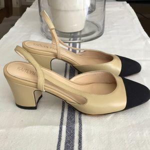 Kaitlyn Pan Shoes - Kaitlyn Pan Two Tone Block Heel Slingbacks